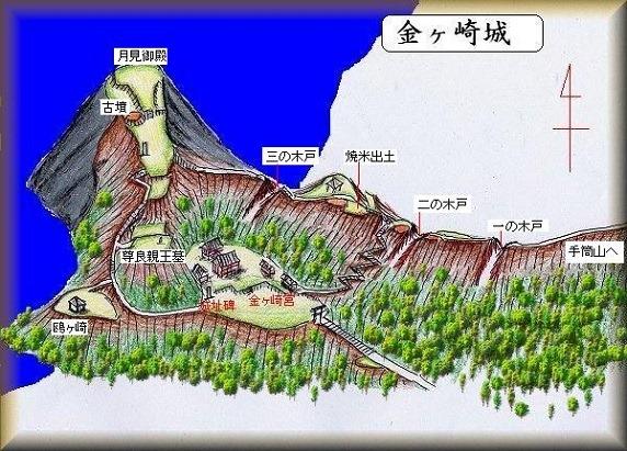 金ヶ崎城鳥瞰図