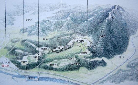 00月山富田城鳥瞰図
