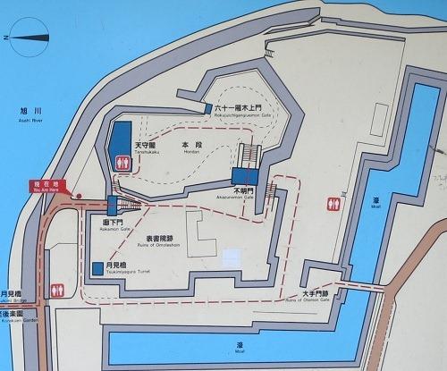 岡山城縄張図