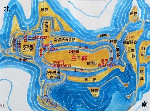 岩倉城縄張図