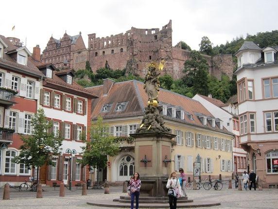 コルンマルクト広場からハイデルベルク城を望む