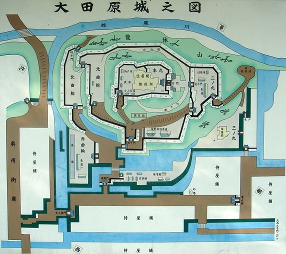 大田原城縄張図
