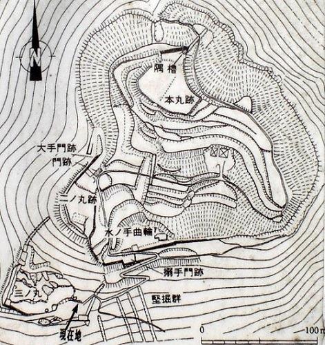 角牟礼城縄張図