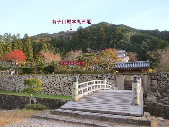 山麓の出石城前から有子山城を望む