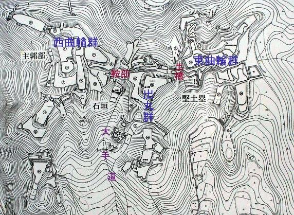 芥川山城縄張図